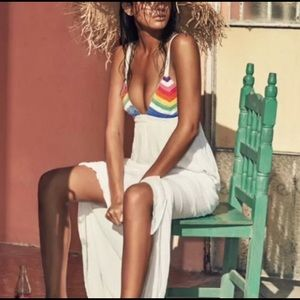 Gorgeous Rainbow Maxi retro cover up/dress!!